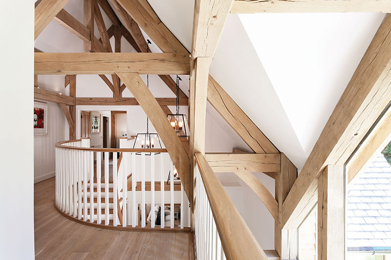The beamed ceilings are a key part of the decor