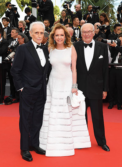 José Carreras (left) with Caroline Scheufele and Karl-Friedrich Scheufele at the Cannes Film Festival, 2018