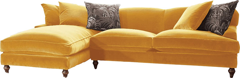 Galloway chaise sofa in Varese Primrose, £3720.70, Darlings of Chelsea