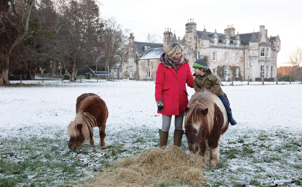 Sarah and Harry with their Shetland ponies. The castle estate stretches across hundreds of acres, including magnificent parkland and forests