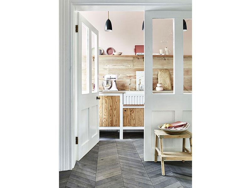6. Kahrs oak chevron light grey wood flooring, £119.99 per sq.m, Carpetright
