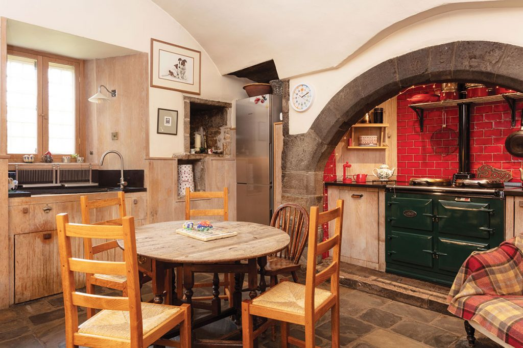 The-kitchen-at-Kinkell-castle-features-original-stonework