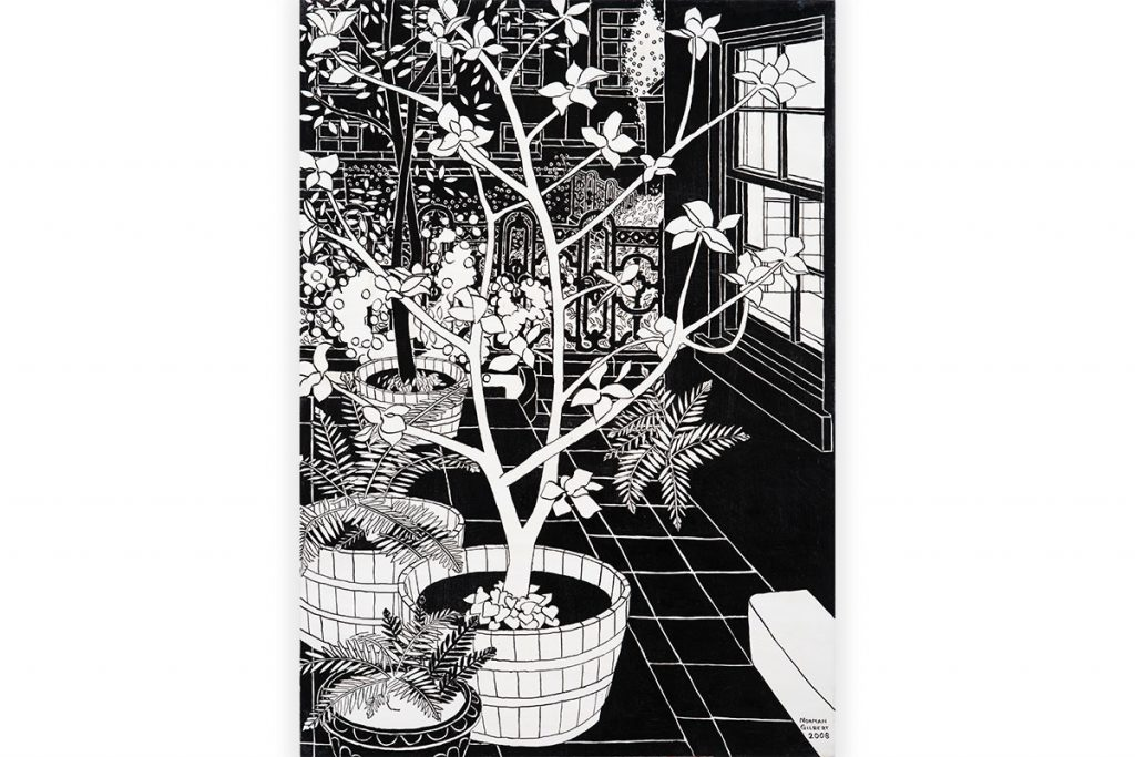 'Trees-and-Cast-Iron-Railings-B&W',-Indian-Ink-on-Board,-122-x-86-cm,-Norman-Gilbert-2009