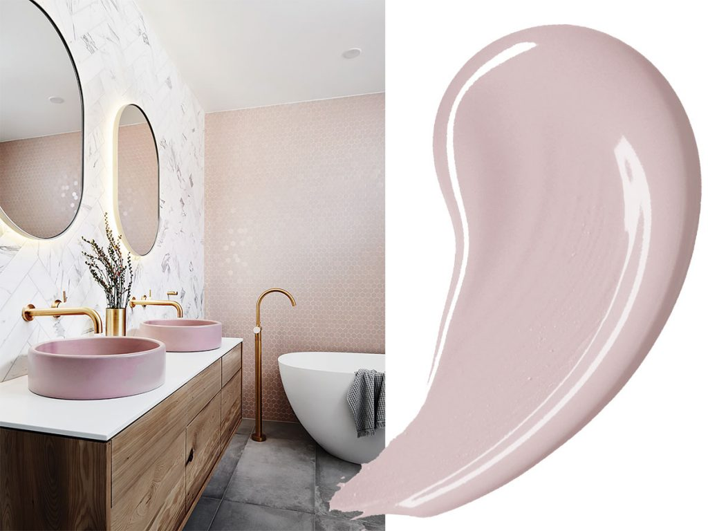 bathroom-with-two-pink-sinks-and-pink-paint-swirl