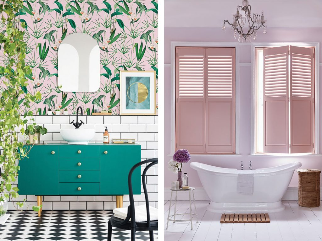 pink-bathroom-with-vibrant-wallpaper-and-pink-shutters