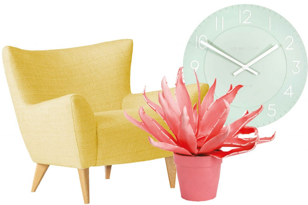 pastel-yellow-chair-mint-clock-and-pink-faux-plant
