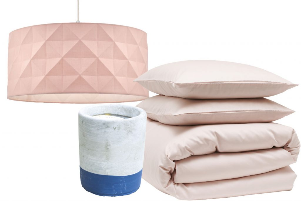 pastel-pink-lampshade-bedding-and-cement-candle