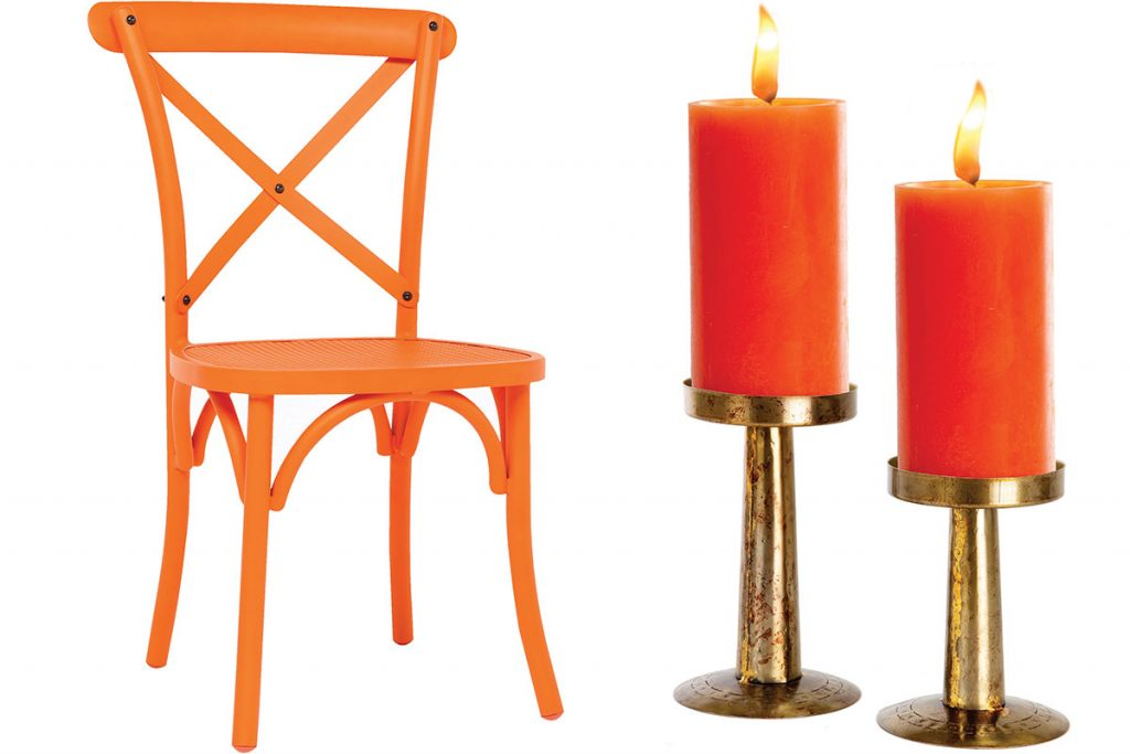orange-chair-and-candlesticks