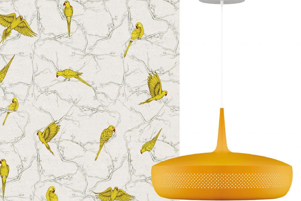bird-wallpaper-and-yellow-light-fixture