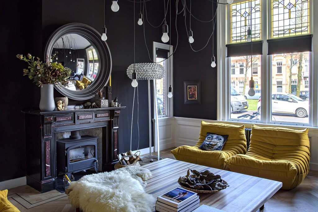 dark-living-room-with-yellow-accents