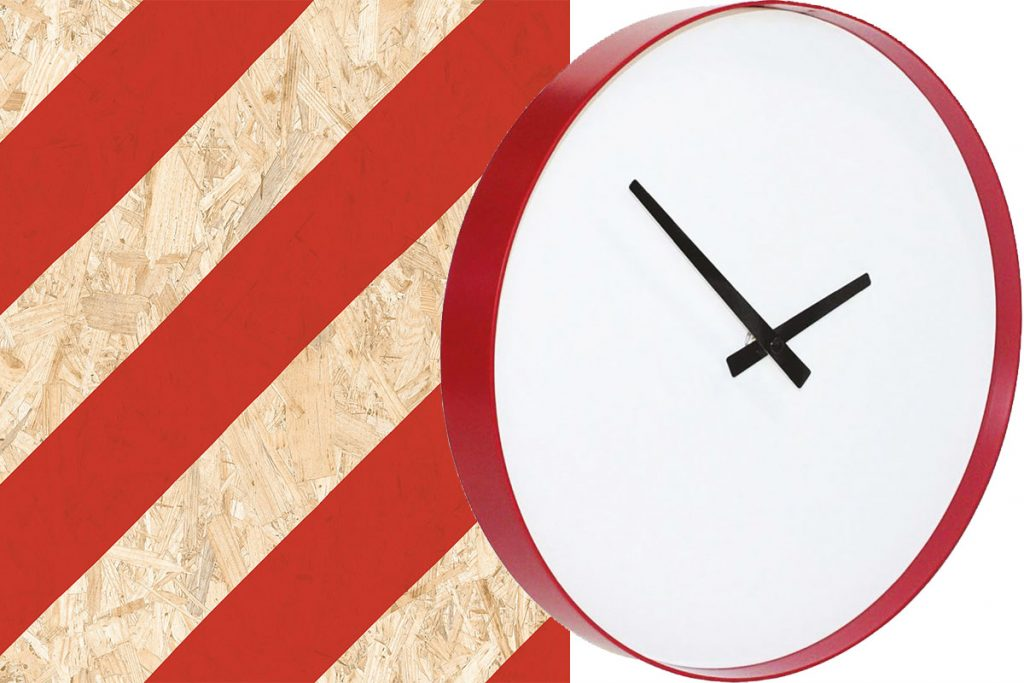 red-clock-and-striped-plywood
