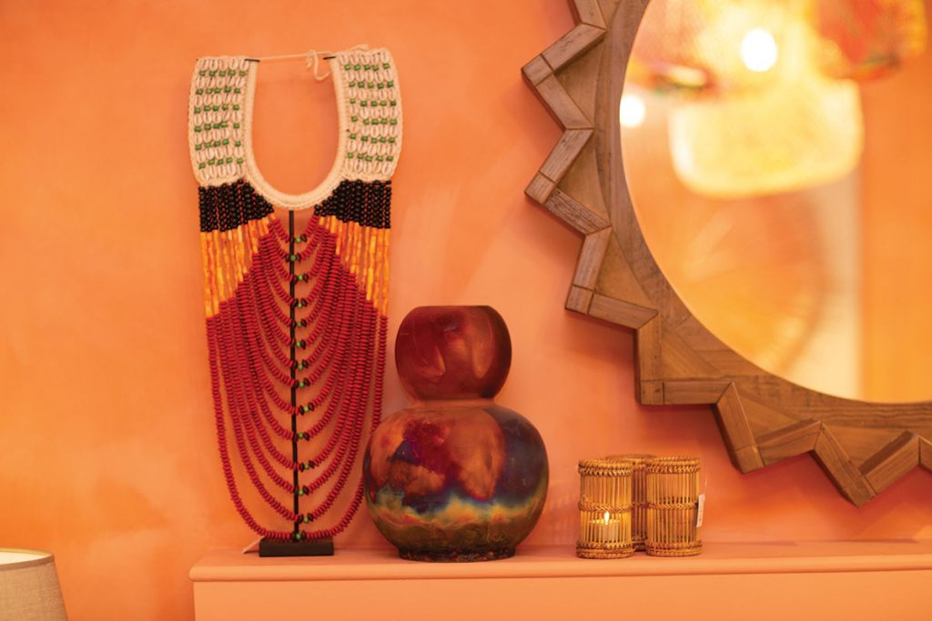 tribal-necklace-on-fireplace