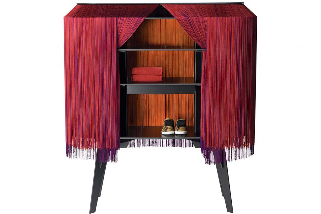 Ibride Alpaga Flamboyant bar cabinet in red, orange and purple, £4,500, Red Candy