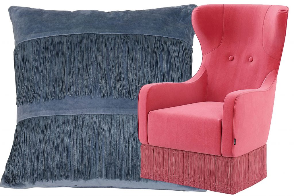 Soft-velvet-cushion,-£53,-The-Farthing-and-Angelie-armchair,-approx-£795,-Domkapa