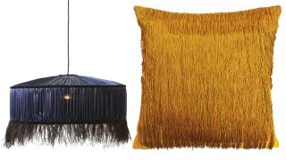 Coco-feather-chandelier,-£275,-Curious-Egg-and-Tassel-cushion-in-ochre,-£125,-One-Nine-Eight-Five