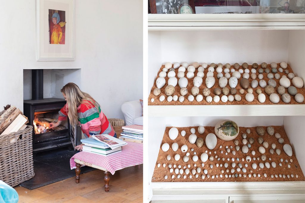 lighting-a-fire-in-the-drawing-room-and-an-egg-display