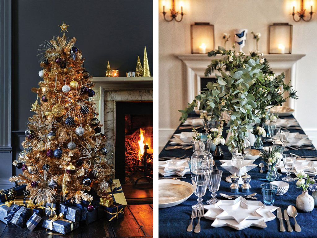 navy-blue-and-gold-christmas-tree-and-table-setup