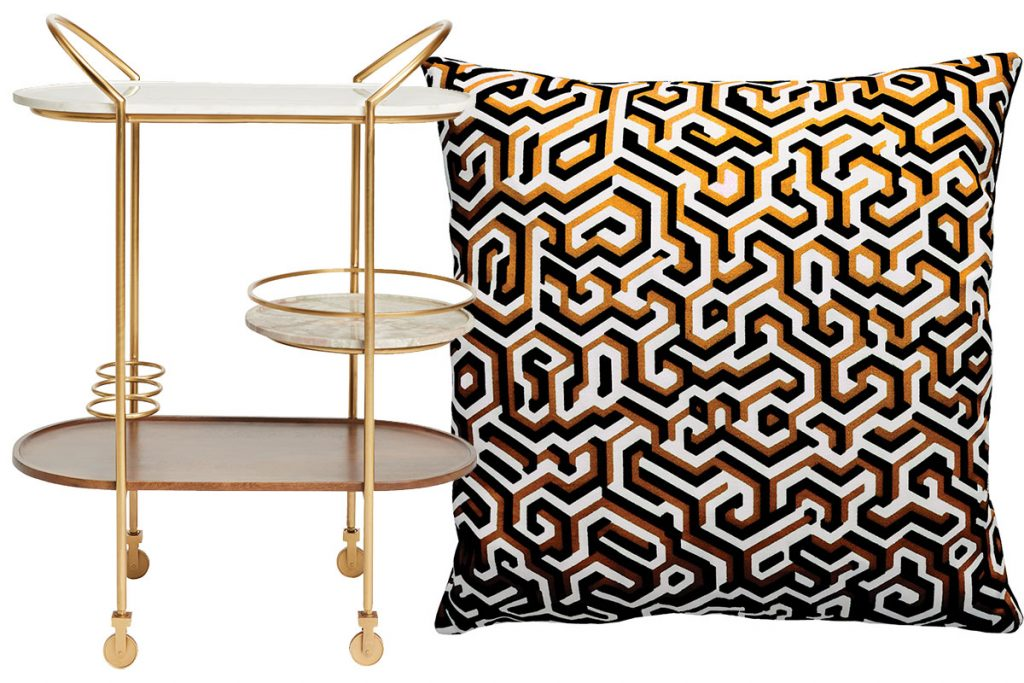 bar-cart-and-patterned-cushion