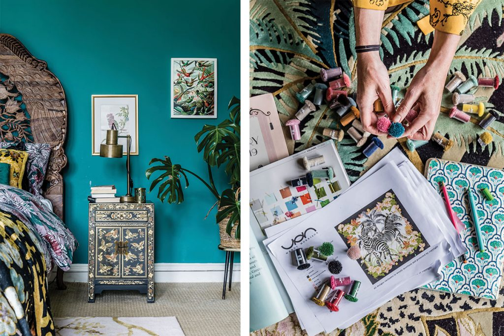 teal-coloured-bedroom-with-carved-headboard-and-wendy-working-on-a-rug