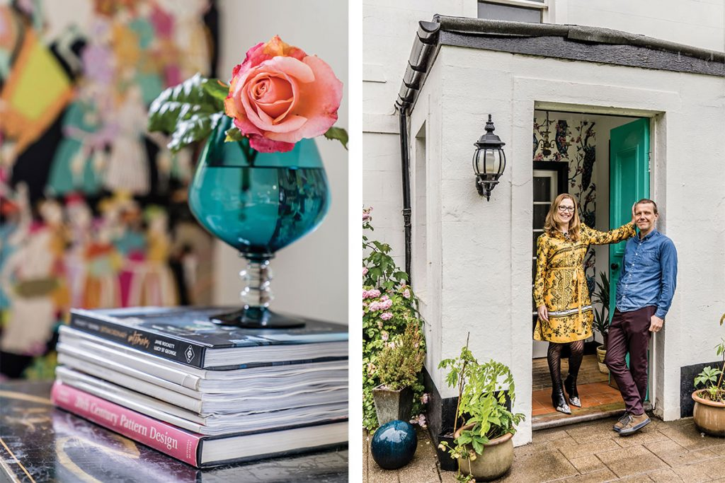 wendy-and-her-husband-standing-outside-the-house-and-cup-of-flowers-on-books
