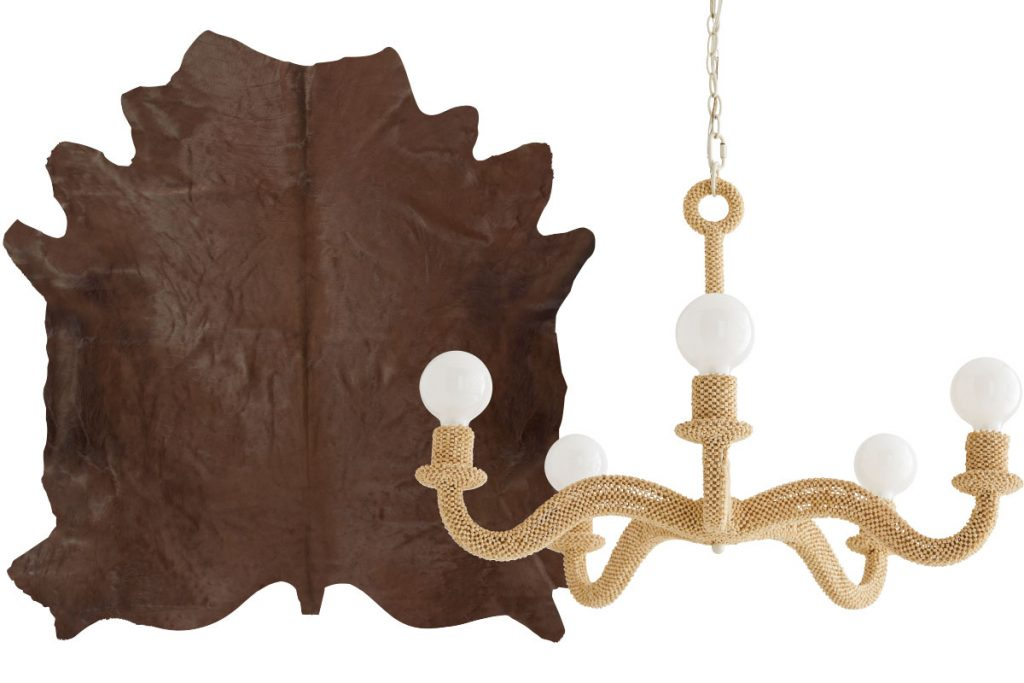 tan-hide-rug-and-woven-chandelier
