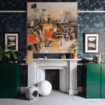 geometric-wallpaper-and-green-cabinets