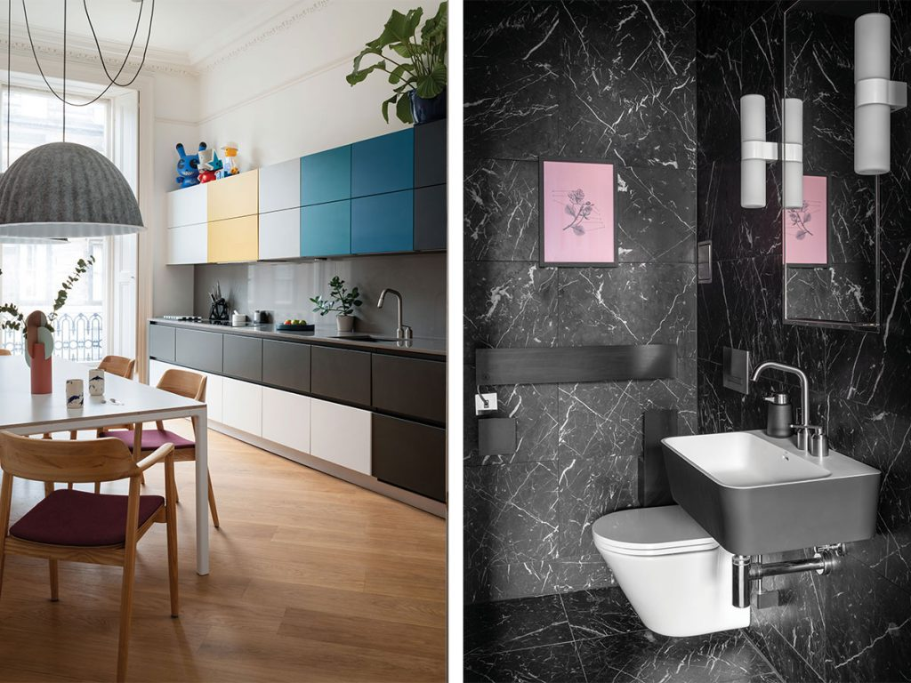 kitchen-gradiated-colour-cupboards-and-black-marble-bathroom-with-pink-print