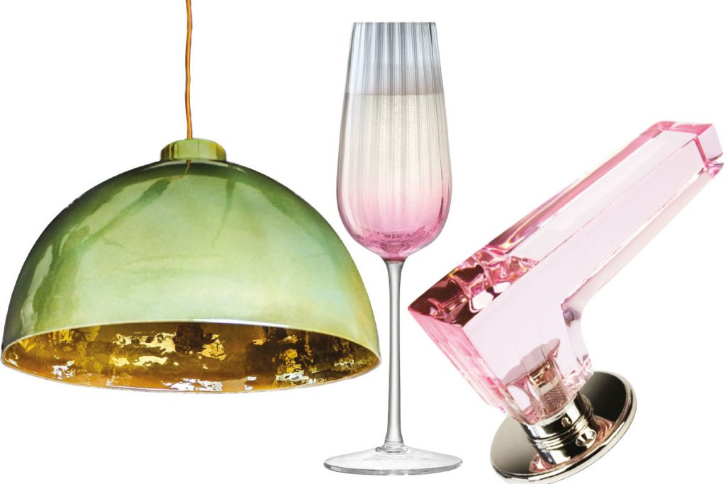 green-glass-lamp,-lsa-champagne-glass-pink-lever-handle