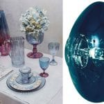 tablescape-with-iridescent-glassware-and-tom-dixon-light