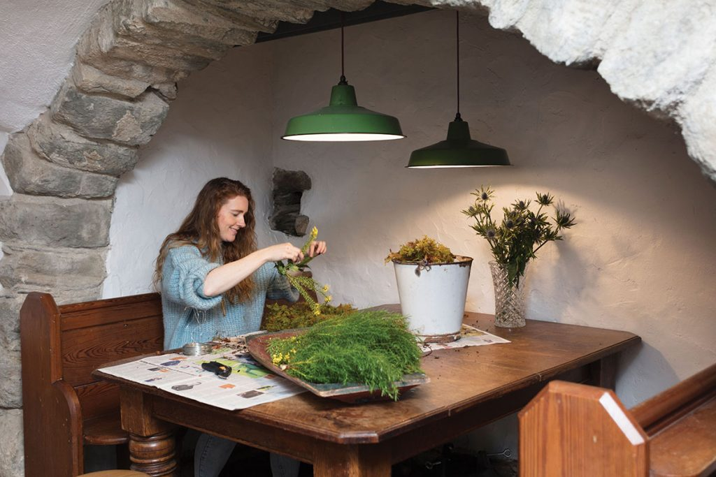 stef-working-with-flowers-picked-from-the-castle-grounds