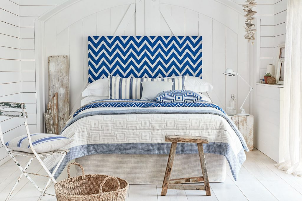Interiors-news-page-32-cobalt-chevron-headboard-Coast-collection-by-Ian-Mankin-£49.50-per-m