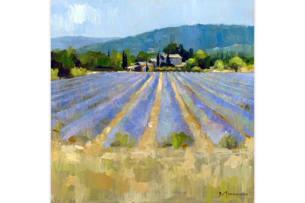"Jack-Morrocco--Lavender-Field-near-Gordes,-Provence-20""-x-20""-Oil-on-Canvas-by-Jack-Morrocco"