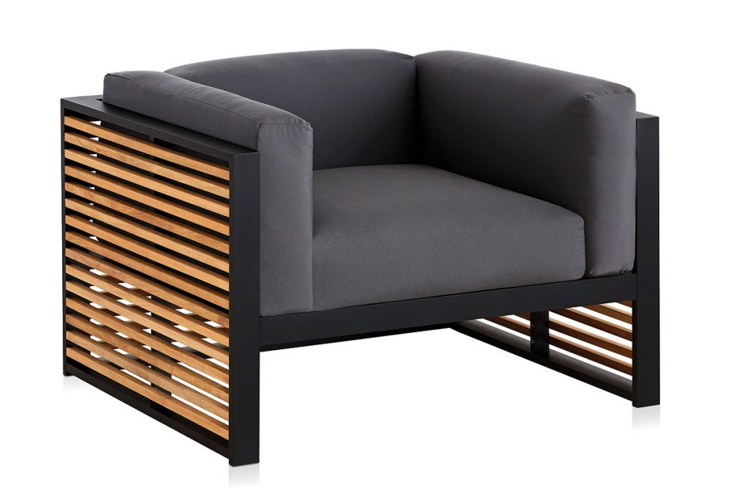 Gandia-Blasco-DNA-Teak-lounge-chair-black