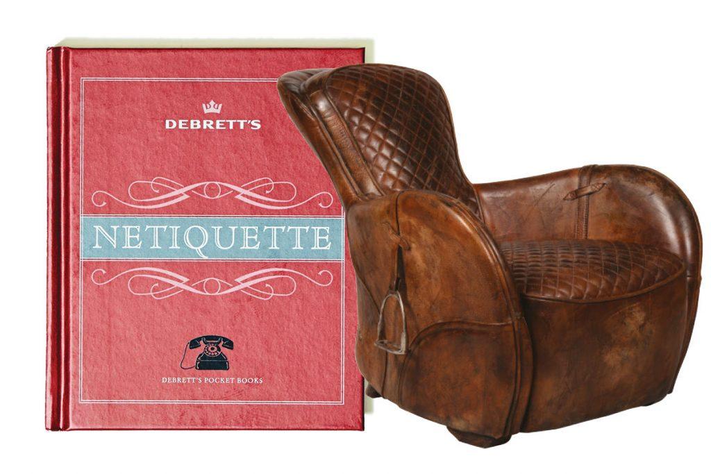 debretts-etiquette-book-and-timothy-oulton-armchair