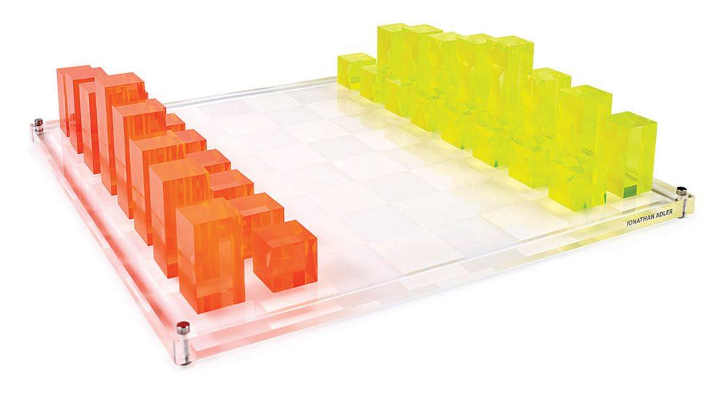Jonathan-Adler-Acrylic-chess-set-neon-orange-and-yellow