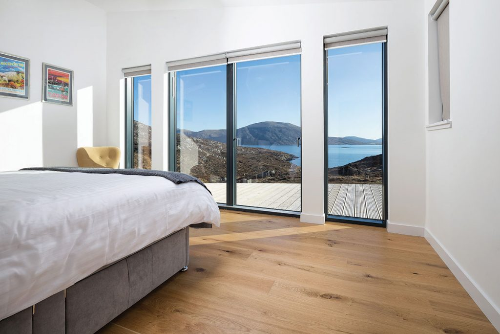 architecture isle of Harris home views out over the loch from the bedroom
