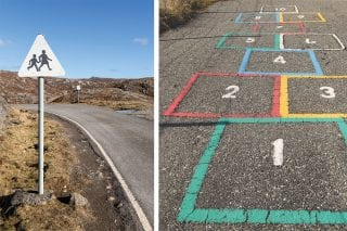 school sign and hopscotch architecture isle of Harris