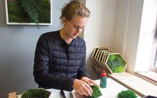 moss artist at her desk