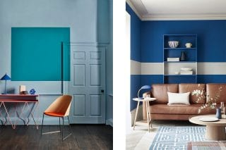 colour block blue and teal walls