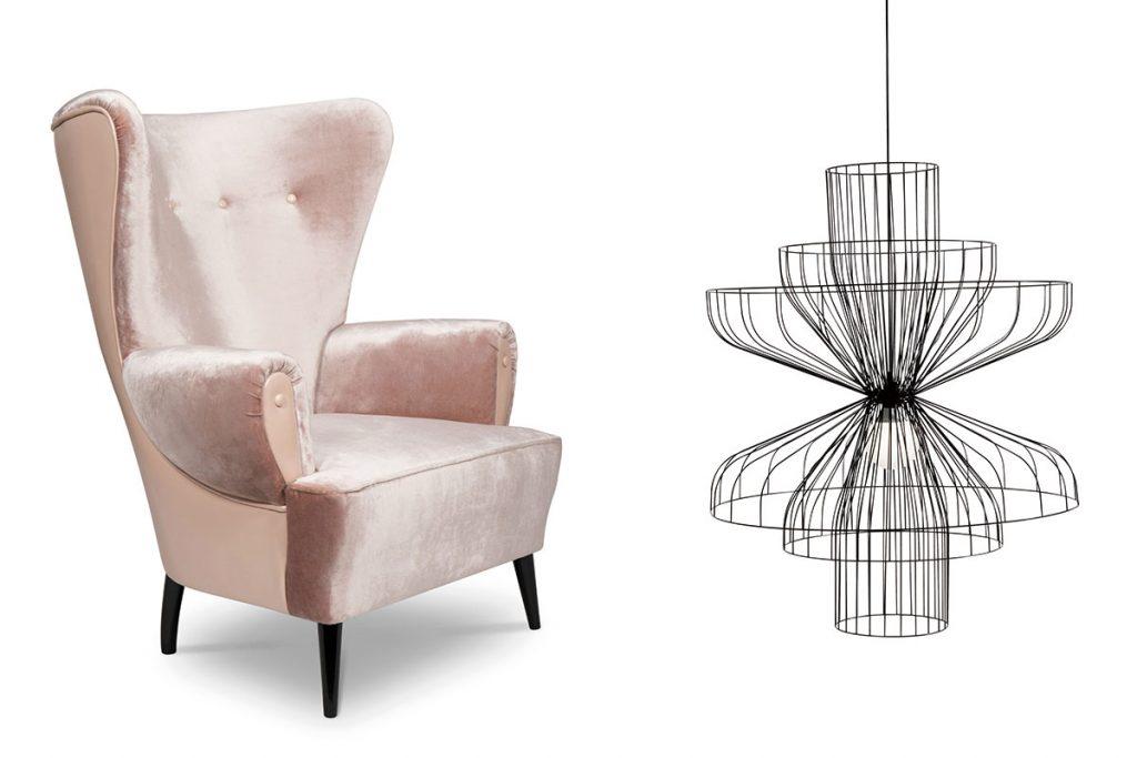 pink high back armchair and black minimal line reset pendant light
