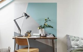 blue colour block working from home space in attic bedroom