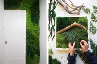 moss artwork in progress and moss-covered wall