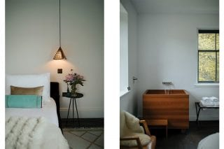 Cosy bedroom with handmade pendant lampshade; Japanese soaking tub in warm wood