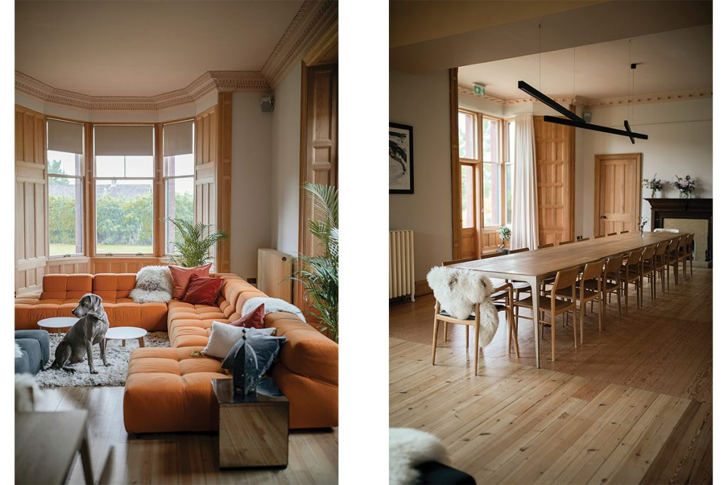 Living room with large orange BB Italia sofa and lounging big grey dog; large brass and oak dining table seating 20