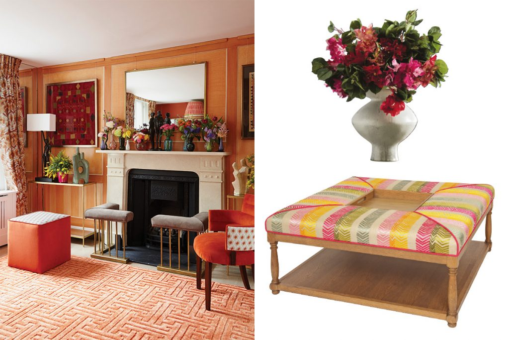 orange themed cosy living room plus faux flowers and an ottoman