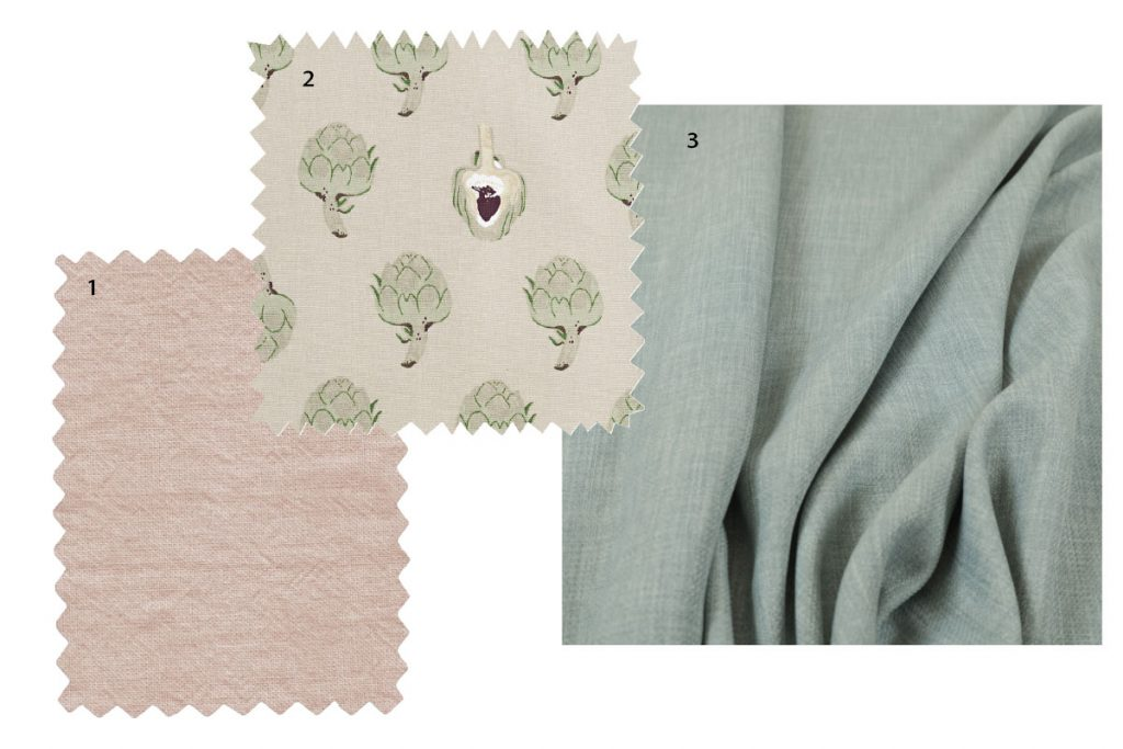 collection of neutral fabrics, pink, blue, and oatmeal with artichoke pattern