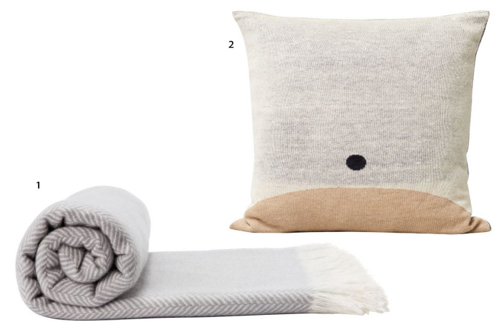 cashmere blanket in soft blue and white, Nordic Living neutral oversized cushion