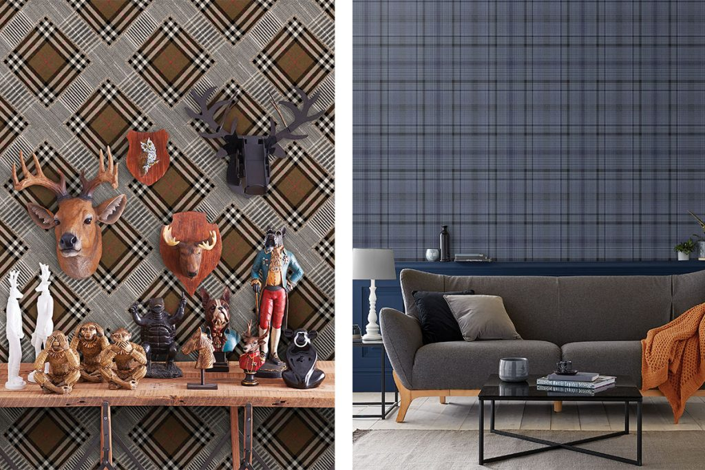 two tartan plaid wallpapered rooms